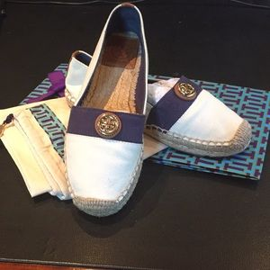 Tory Burch Navy and Canvas Espadrilles
